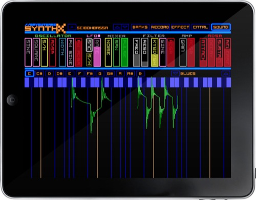 "SynthX' screen with parameter faders and XY pad ""keyboard"""