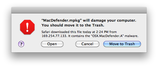 MacDefender Warning