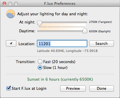 F.lux preferences window