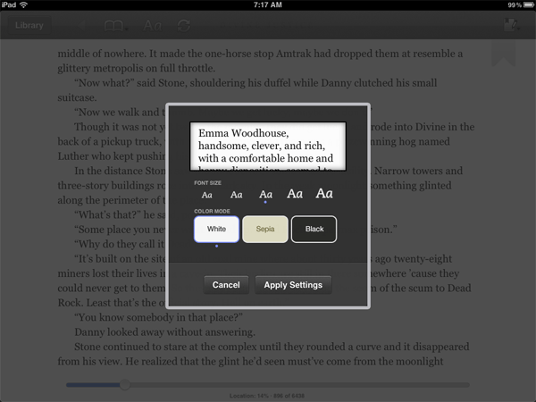 On-screen controls for font and page layout