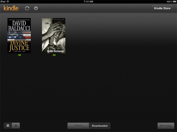 Thumb pins mark those books that have been downloaded to your device