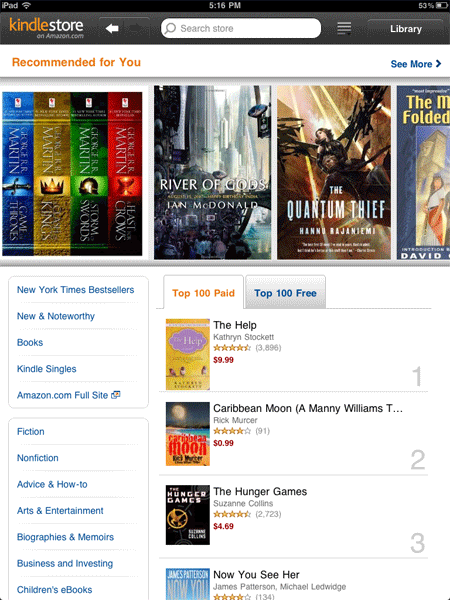 Kindle Cloud Reader Store Landing Page