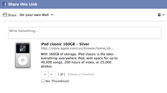 Sharing an iPod classic on Facebook