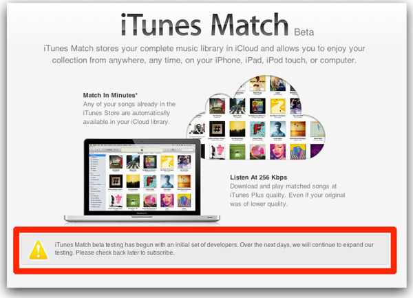 iTunes Match On Hold
