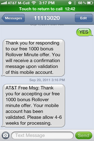 AT&T Confirmation Notice