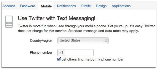 Set Up SMS Texting to Tweet at Twitter.com