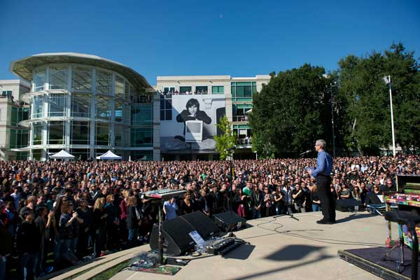 Tim Cook speaks at Steve Jobs memorial