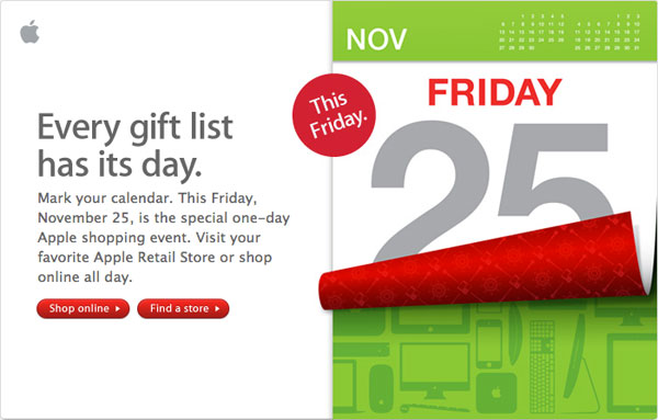 Apple Store Black Friday Announcement