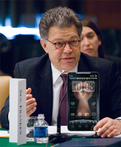 Artist rendition of Senator Franken asking Carrier IQ questions