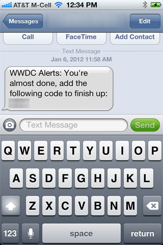 WWDCAlerts Confirmation