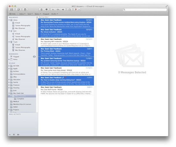 Select multiple messages OS X Mail