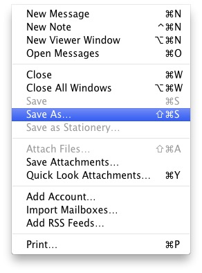 Save As feature in Mail