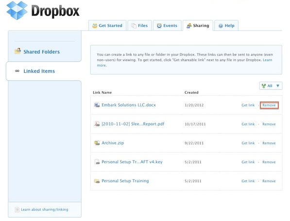 Remove Shareable Dropbox Link