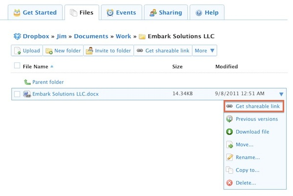 Create Shareable Link with Dropbox Web Interface