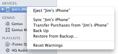 iTunes Manual Backup
