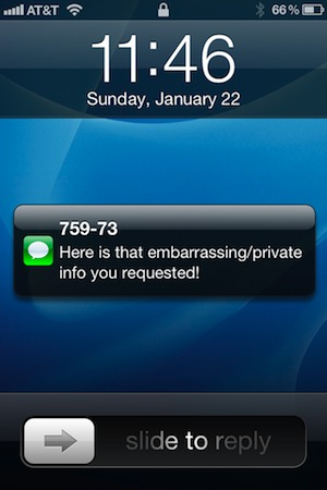 iPhone SMS Lock Screen Preview