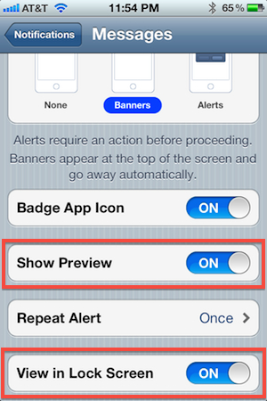 How to Control Lock Screen Messaging Notifications in iOS 5