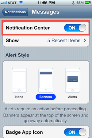 Messages Notification Center Toggle