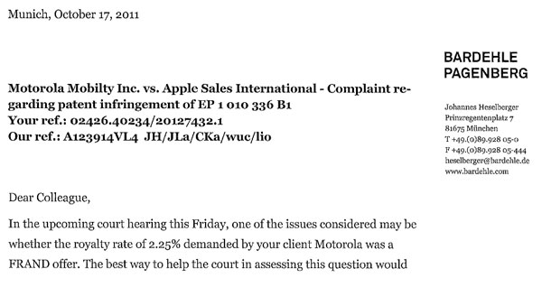 Apple vs. MMI Letter