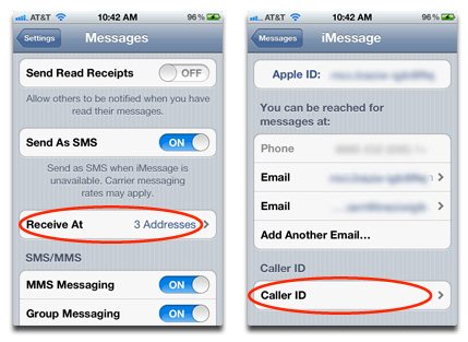 Setting your caller ID email in iOS
