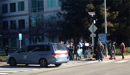 More protestors outside Apple's campus