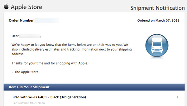 New iPad Shipping Notification