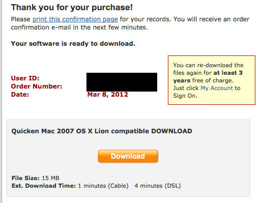 Quicken Mac 2007 for Lion Download Screen