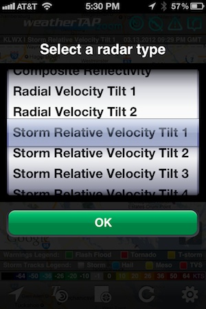 weatherTAP zoom Radar Types