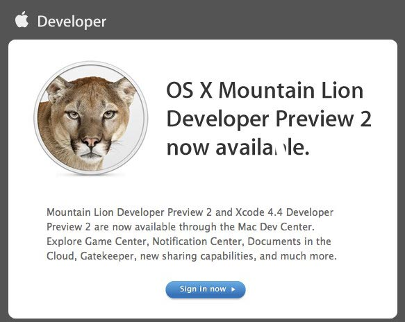Mountain Lion Developer Preview 2
