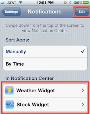 Notification Center Settings