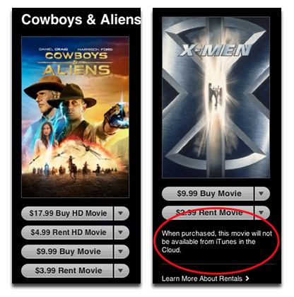 Universal movies now available through iTunes in the Cloud