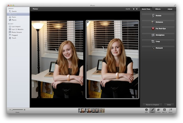 Side-By-Side Editing in iPhoto