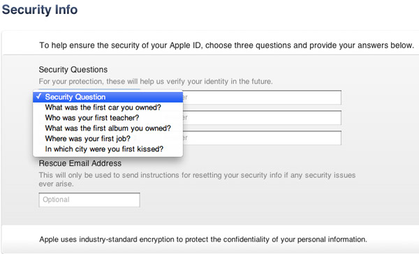 iTunes Security Questions