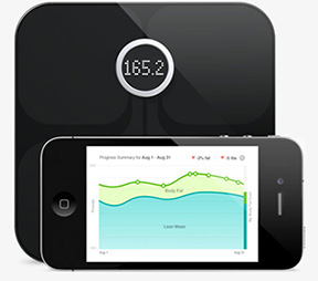 The Fitbit Aria scale tracks your weight and BMI