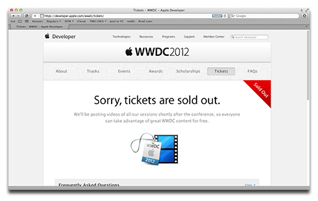 WWDC 2012 tickets sold out in less than two hours