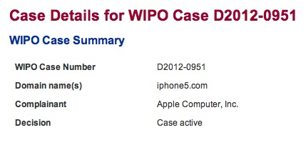 Apple's iPhone5.com WIPO Claim