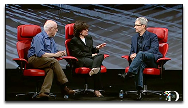 Tim Cook chatting with Walt Mossberg and Kara Swisher at D10