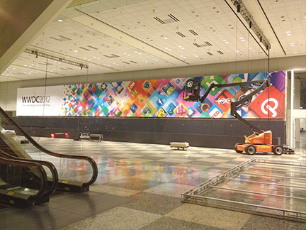 WWDC banners are going up inside Moscone West