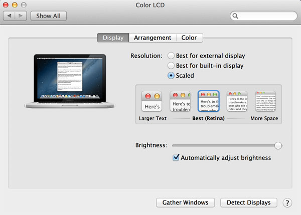 MacBook Pro with Retina Display Preference Pane