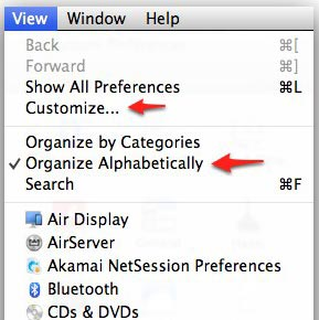 View menu in System Preferences.