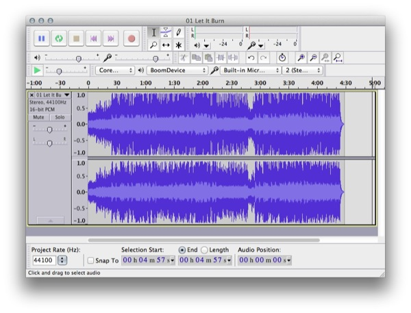 Audio Track Waveform Before Boom Boost