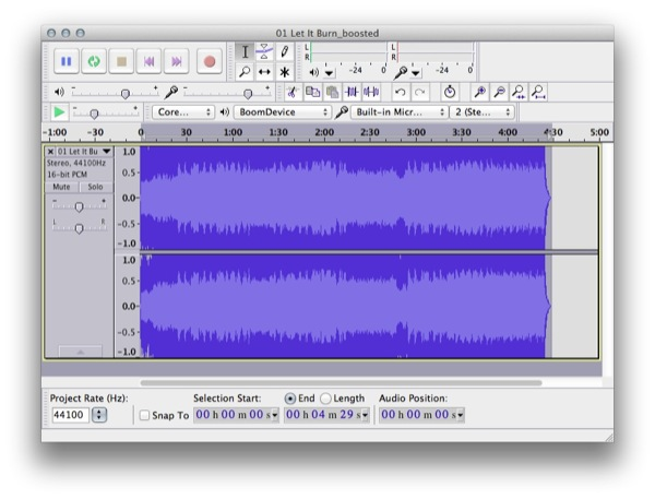 Audio Track Waveform After Boom Boost