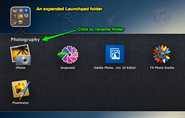 An expanded Launchpad folder