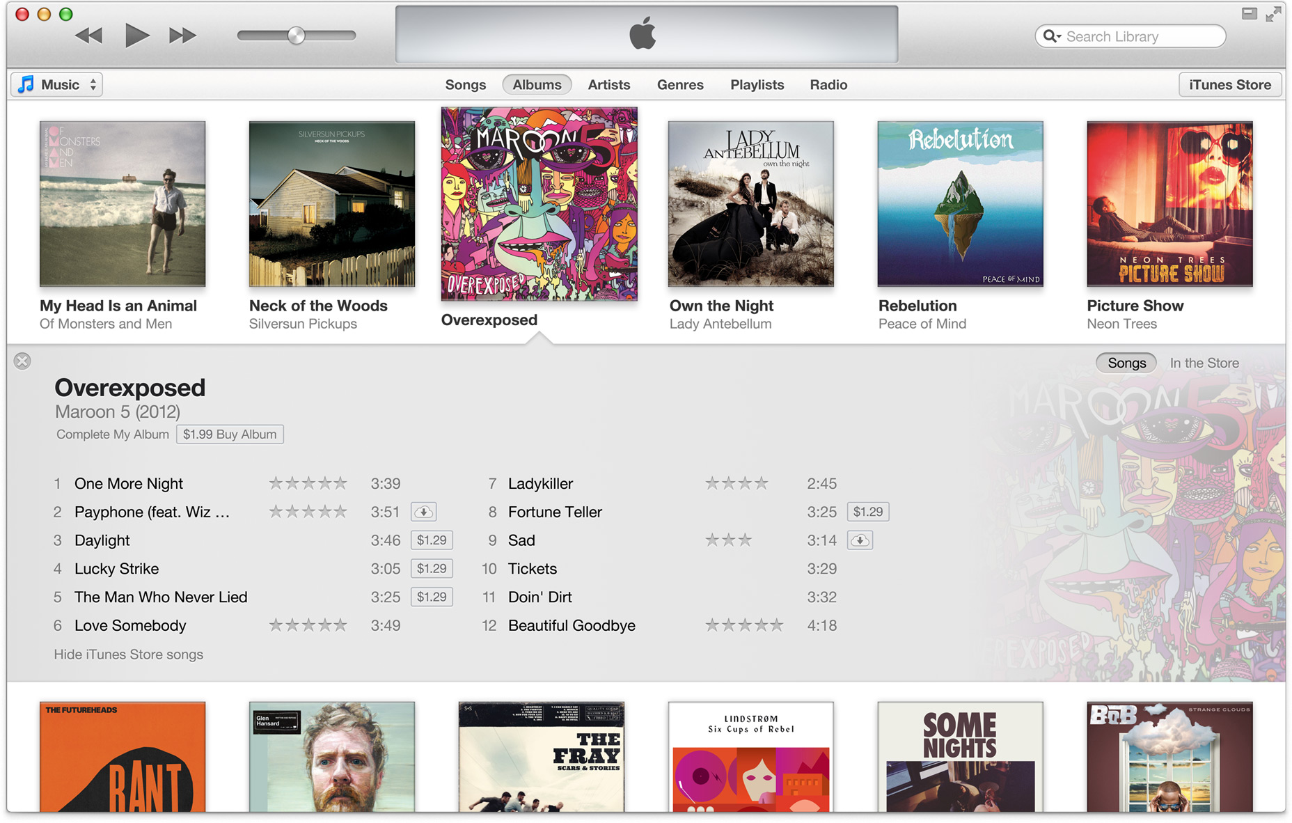 iTunes 11 Expanded Interface