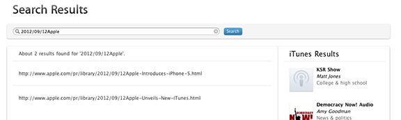 Searching Apple's site uncovered iPhone 5 and a new version of iTunes