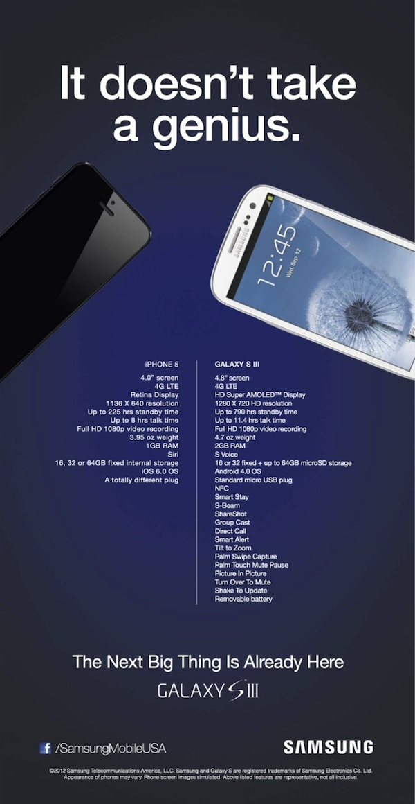 Samsung Galaxy S3 Fires Shot At iPhone 5 With National Print Ad