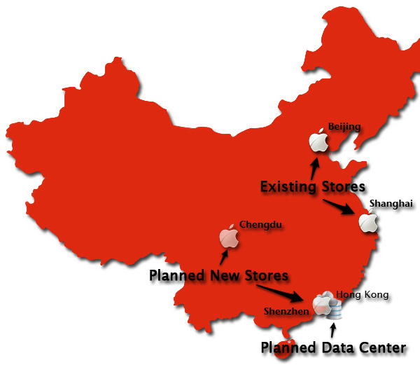 Map of Apple Store locations in China
