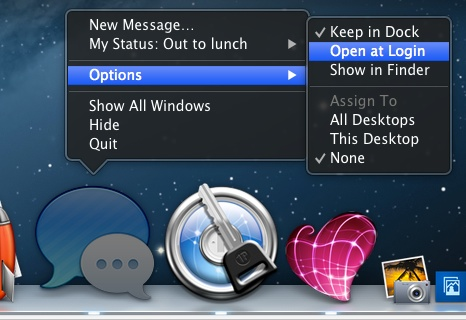 Clicking-and-Holding on a Dock icon presents a pop-up menu.