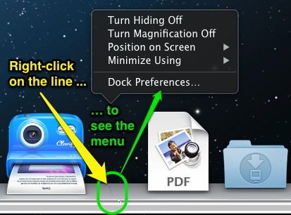 Right-clicking on the Dock's separator line reveals Dock options.
