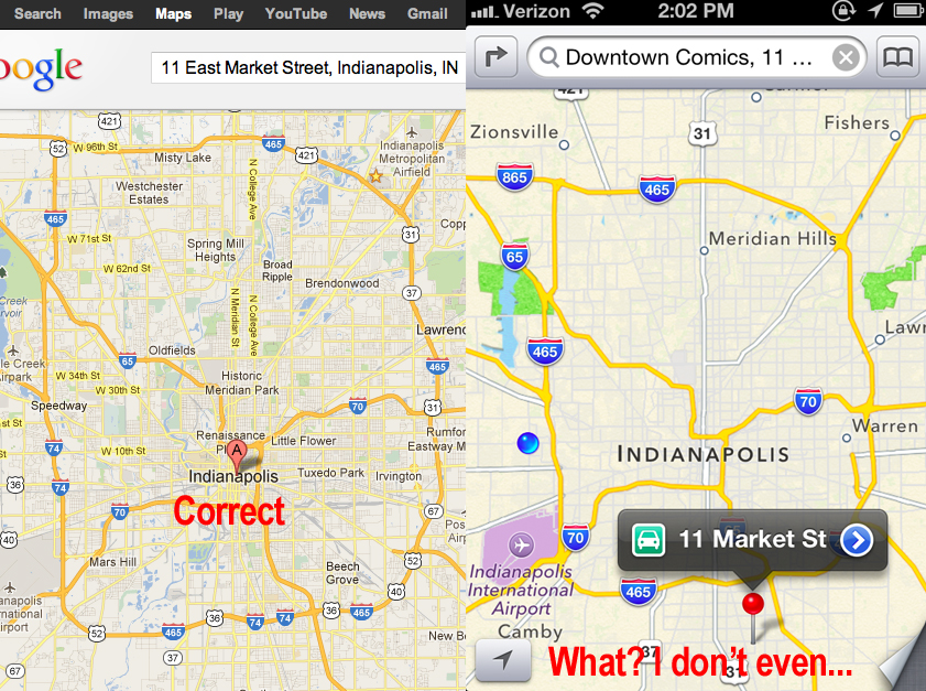 Apple Maps iOS 6 Google Maps Comparison